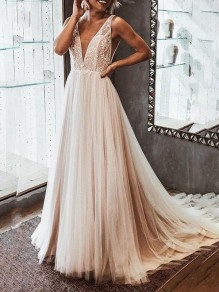 Apricot Patchwork Grenadine Deep V-neck Prom Evening Party Elegant Bride Maxi Dress