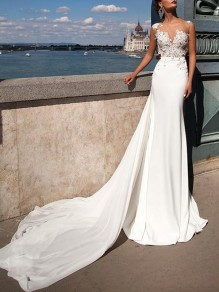 White Patchwork Appliques Lace Deep V-neck Wedding Gowns Big Swing Bride Maxi Dress
