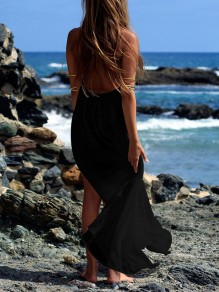 Black Pleated Backless Halter Neck Slits On Both Sides Going out Beach Women Maxi Dress