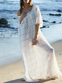 White Patchwork Lace Asymmetric Shoulder Short Sleeve Bohemian Maxi Dress