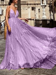 Purple Patchwork Sequin Pleated Spaghetti Strap Deep V-neck Backless Maxi Dress