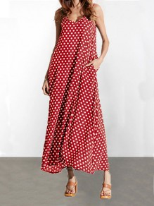 Red Polka Dot Pockets V-neck Spaghetti Strap Casual Women Maxi Dress