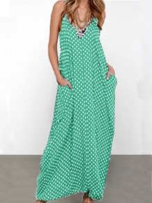 Green Polka Dot Pockets V-neck Spaghetti Strap Casual Women Maxi Dress