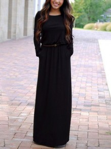 Black Pockets Long Sleeve Floor Length Casual Women Maxi Dress