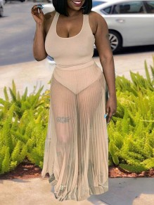 Beige Grenadine Pleated Sheer 2-in-1 One-Piece Swimwear Beach Maxi Dress
