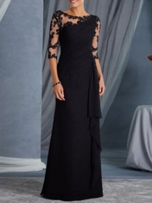 Black Patchwork Lace Ruffle Sheer Elegant Prom Ball Gowns Maxi Dress