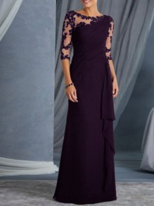 Purple Patchwork Lace Ruffle Sheer Elegant Prom Ball Gowns Maxi Dress