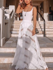 White One-Piece Swimwear Two Piece Patchwork Lace Cut Out Grenadine Sheer Skirt Big Swing Beach Maxi Dress