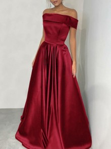 Wine Red Patchwork Off Shoulder Backless Short Sleeve Party Maxi Dress