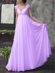 Purple Patchwork Lace Cut Out Chiffon V-neck Sleeveless Wedding Gowns Formal Maxi Dress
