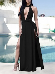 Black Halter Neck Backless Deep V-neck Sleeveless Thigh High Double Side Slits Plus Size Flowy Prom Evening Party Maxi Dress