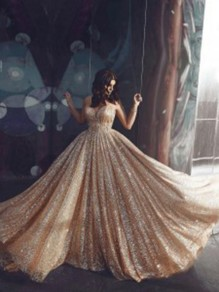 Golden Sequin Shoulder-Strap V-neck Backless Pleated Big Swing Flowy Shimmer Glitter Sparkly Birthday Party Formal Wedding Maxi Dress
