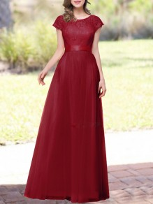 d954054690a16 Wine Red Patchwork Lace Sashes Round Neck Short Sleeve Chiffon Maxi Dress