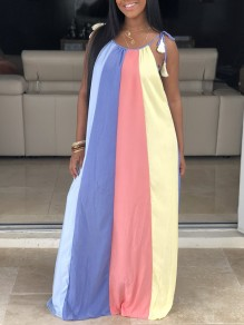 Light Blue Plus Size Tassel Shoulder-Strap Lace-up Rainbow Striped Round Neck Sleeveless Big Swing Bohemian Maxi Dress