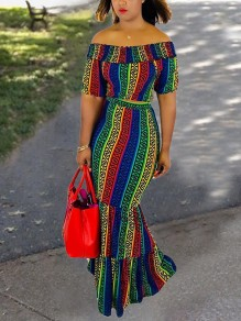 Rainbow Letter Striped Print Elastic Off Shoulder Short Sleeve 2-in-1 Bodycon Ruched Going Out Maxi Dress