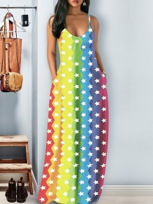 Multicolor Rainbow Striped Starry Print Pockets Shoulder-Strap V-neck Fourth of July Independence Day Fashion Cute Maxi Dress