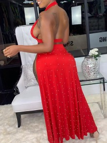 Red Patchwork Pearl Halter Neck Backless Deep V-neck Metal Buckle 2-in-1 High Waisted Slit Clubwear Maxi Dress