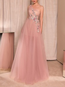 Blush Pink Patchwork Appliques Pleated Asymmetric Shoulder Banquet Bridesmaid Prom Maxi Dress
