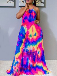 Rainbow Colorful Tie Dye Halter Neck Lace-up Backless Sleeveless Big Swing Bohemian Maxi Dress