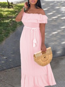 Pink Patchwork Cascading Ruffle Off Shoulder Ruffle Sleeve Tassel Belt Draped Falbala Bohemian Maxi Dress