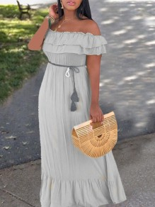 Grey Patchwork Cascading Ruffle Off Shoulder Ruffle Sleeve Tassel Belt Draped Falbala Bohemian Maxi Dress