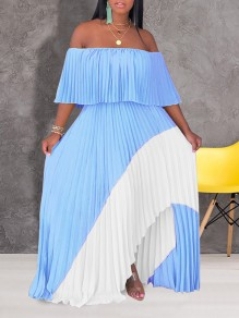 Light Blue Patchwork Irregular Pleated Off Shoulder Short Sleeve Slit Big Swing Maxi Dress