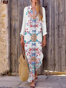 White Tribal Floral V-neck Long Sleeve Mexican Bohemian Beach Wedding Maxi Dress
