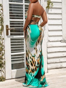 Light Green Leopard Print Bandeau V-neck Off Shoulder Bodycon Mermaid Hot Maxi Dress