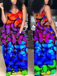Rainbow Pockets Rainbow Butterfly Print Shoulder-Strap V-neck Sleeveless Big Swing Maxi Dress