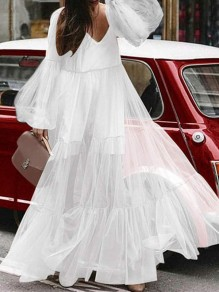 White Patchwork Grenadine V-neck Lantern Sleeve Flowy Elegant Casual Beach Evening Party Maxi Dress