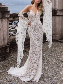 White Patchwork Floral Lace Cut Out Deep V-neck Flare Sleeve Mermaid Beach Wedding Maxi Dress