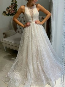 Silver Patchwork Bright Wire Grenadine Deep V-neck Sleeveless Tulle Elegant Wedding Ball Gowns Prom Maxi Dress
