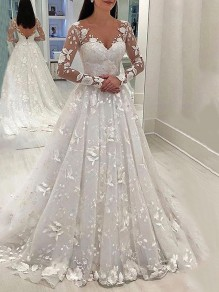 White Patchwork Floral Lace Cut Out Grenadine V-neck Long Sleeve Tulle Tutu Elegant Wedding Gowns Prom Maxi Dress