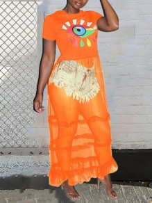 Orange Patchwork Grenadine Colorful Devil's Eye Print Round Neck Short Sleeve Ruffle Sheer Clubwear Hot Maxi Dress