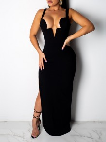 Black Cut Out Shoulder-Strap Backless V-neck Sleeveless Thigh High Side Slits Bodycon Clubwear Hot Maxi Dress