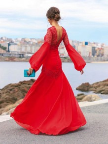 Red Patchwork Lace Cut Out Deep V-neck Lantern Sleeve Backless Big Swing Flowy Elegant Ball Gown Prom Maxi Dress