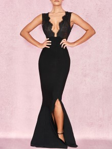 Black Patchwork Lace Cut Out V-neck Backless Sleeveless Bodycon Slit Mermaid Party Hot Maxi Dress