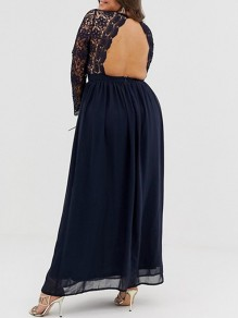 Navy Blue Patchwork Lace Cut Out Grenadine Backless Plus Size V-neck Long Sleeve Flowy Bridesmaid Maxi Dress