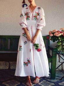 White Mexican Embroidered Print Belt V-neck Puff Sleeve Big Swing Flowy Mexican Maxi Dress