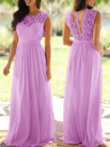Purple Patchwork Zipper Lace Cut Out Grenadine Round Neck Sleeveless Lavender Bridesmaid Maxi Dress