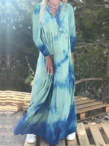 Light Blue Tie Dye Buttons V-neck Long Sleeve Big Swing Flowy Bohemian Maxi Dress