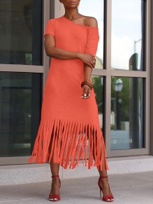 Orange Patchwork Tassel Off One Shoulder Short Sleeve Flowy Casual Maxi Dress