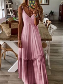 Pink Gradient Color Pleated Spaghetti Strap V-neck Maxi Dress