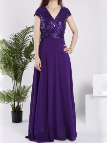 Purple Sequin Sparkly V-neck Short Sleeve Elegant Maxi Dress
