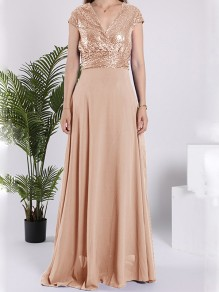 Beige Sequin Sparkly V-neck Short Sleeve Elegant Maxi Dress