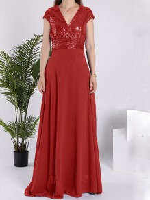 Red Sequin Sparkly V-neck Short Sleeve Elegant Maxi Dress