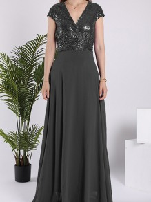 Black Sequin Sparkly V-neck Short Sleeve Elegant Maxi Dress