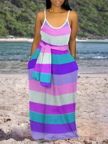 Purple Rainbow Striped Print Shoulder-Strap Pockets Belt V-neck Beach Flowy Maxi Dress