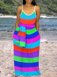 Blue Rainbow Striped Print Shoulder-Strap Pockets Belt V-neck Beach Flowy Maxi Dress