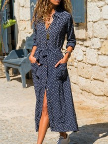Navy Blue Floral Single Breasted Sashes Pockets Long Sleeve Maxi Dress